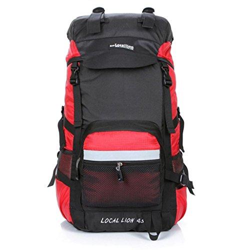 Local Lion zaino 45L per trekking borsa unisex da spalla outdoor campeggio escursionismo viaggio rosso