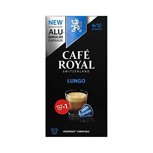 Café Royal Lungo Nespresso®* kompatible Kapseln aus Aluminium - 10+1 Kaffeekapseln - Intensität 4/10 - UTZ - Kompatibel mit Nespresso®* Kaffeemaschinen