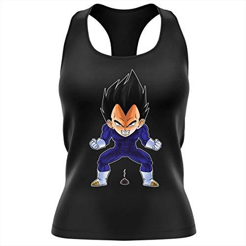 Okiwoki Débardeur Femme Noir Parodie Dragon Ball Z - DBZ - Végéta - Super Caca Vol.2 (Débardeur de qualité Premium de Taille S - imprimé en France)