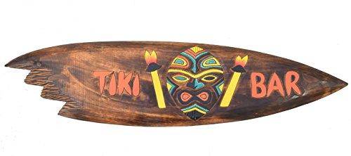 Interlifestyle Tiki Bar Surfboard aus Holz 100cm im Tribal Style Hawaii Maui Deko Surfbrett