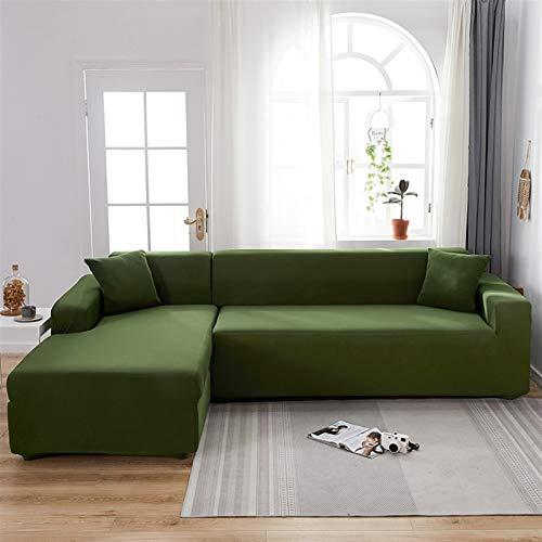 kengbi Funda de sofá duradera y fácil de limpiar, 1 funda elástica para sofá para sala de estar, color sólido, elastano, esquinas seccionales, funda de sofá, en forma de L, necesita comprar 2 fundas