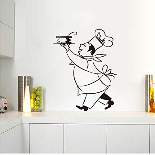 Pegatinas de cocina Chef calcomanías de pared de vinilo Sticker Mural Wall Art Kitchen Tile Wallpaper decoración del hogar decoración de la casa 55x75 cm