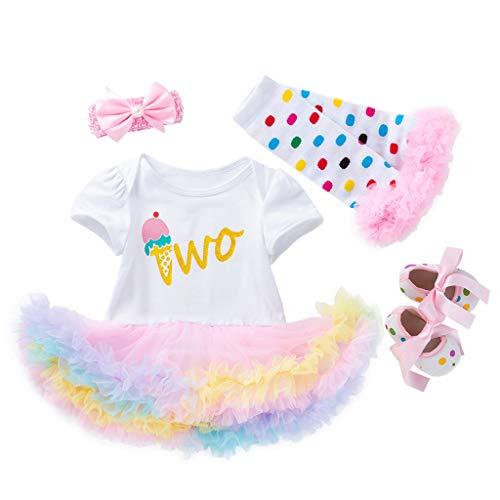 Moneycom – Conjunto de ropa de verano para niñas, falda de cumpleaños, tul chic ceremonia, 4 unidades blanco 0-3 Meses