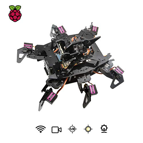 Adeept RaspClaws Hexapod Spider Robot Kit for Raspberry Pi 4 3 Model B+/B, STEAM Crawling Robot, OpenCV Target Tracking, Video Transmission, Raspberry Pi Robot with PDF Manual
