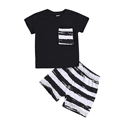 Black Friday Limited Deals 2 Pcs Sommer Säugling Baby Kurzarm Solide T-Shirt Tops + Gestreift Kurze Hose Set