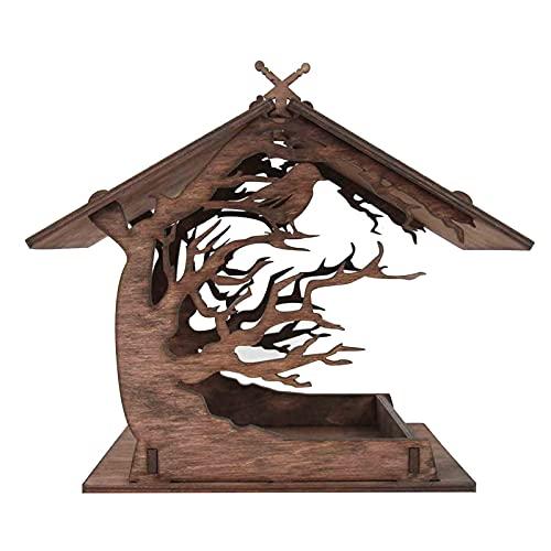 Vogelfutterhaus Holzhaus, Holz Vogelfutterhaus Holzhaus, Vogelhaus Holz Vogelfutterhaus Holzhaus, Vogelhaus zum Aufhängen im Garten und Balkon Hof Villa Balkon Vogelhäuschen (A)