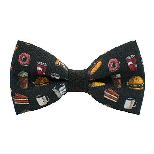 Fast food bow tie, coke, coffee, donuts, hot-dog food pattern, by Bow Tie House