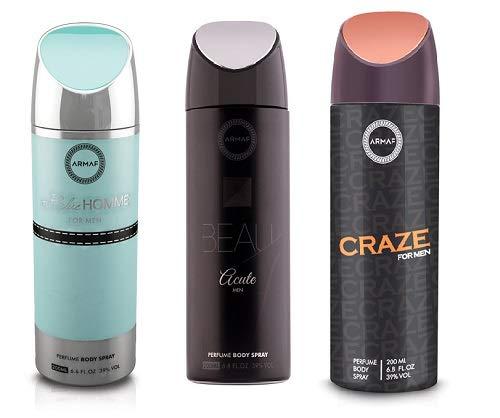 Pack of 3 Assorted Armaf Perfume Body Spray Alcohol Free 6.6 oz Blue Homme + Beau Acute + Craze For Men (Blue Homme + Beau Acute + Craze)