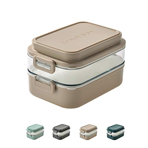 Linoroso-Dual Bento Box for Adults Kids|Modern Cute Stackable Bento Lunch Box Meet ALL your On-the-go Needs for Lunch Container,Salad Container for Lunch, Snack Box |Food Grade Safe Materials(BEIGE)