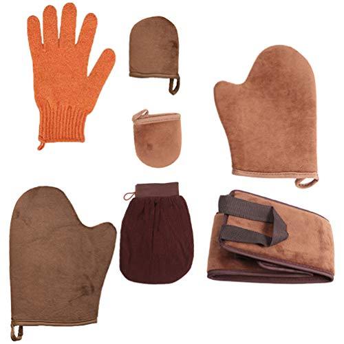 Lurrose 2 juegos de aplicación de manopla bronceadora con aplicadores de loción para la espalda para mousses lociones cremas (marrón)