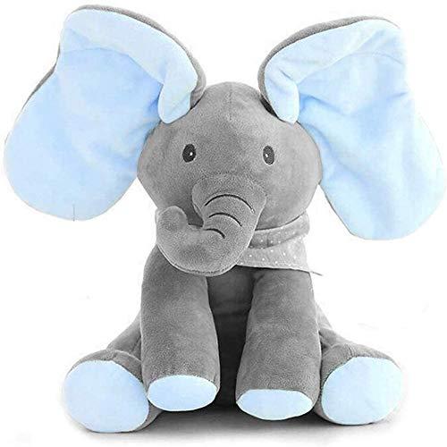 GHTYN Peek-A-Boo Elefante,DE Peluche Juguete Interactivo Canciones De Canto MúSica Felpa Elefante Animal De Peluche Elefante Juguete,Peluche para NiñOs MuñEca De Regalo 30cm /Azul