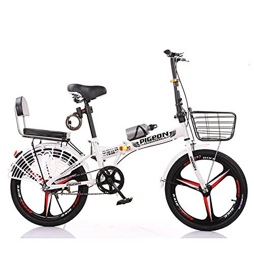 GWL Bicicleta Plegable Urbana, Bicicleta De Montaña para Niña, Niño, Hombre Y Mujer, 20 Pulgadas Bike Sport Adventure, Bicicleta De Carretera/White / 20inch