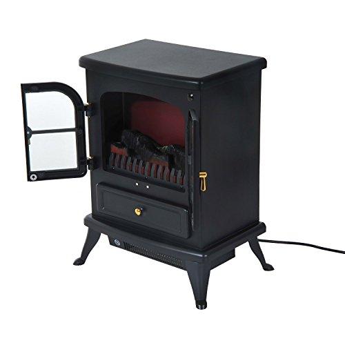 HomCom Caminetto Elettrico da Terra Potenza 950W/1850W in Ferro e Vetro Temperato Nero