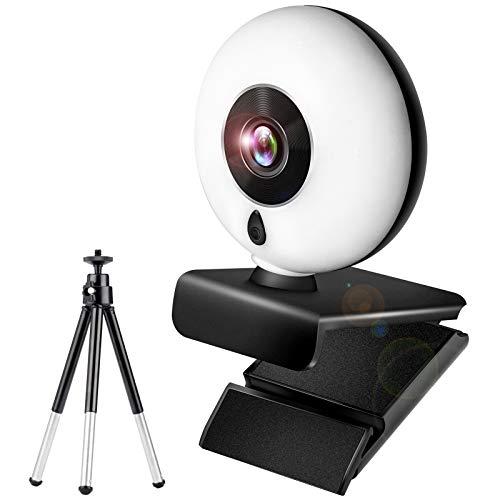 Gahwa Webcam con Microfono para PC 1080P Full HD Estéreo y Luz Anular, USB Cámara Web para Streaming con Tripode y Tapa Webcam Compatible con Windows/Mac OS X/Android/Youtube/Skype/Zoom/PS4/Xbox