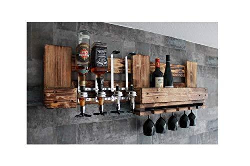 RUSTIKALE WAND-BAR aus Holz mit GETRÄNKESPENDER 4 Flaschen Halterung für 5 Weingläser
