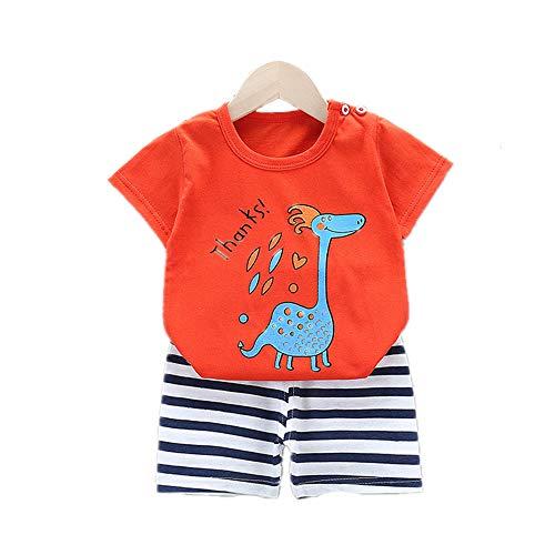 Fansu Pijamas Enteros de Manga Corta para Niños, Pijamas Dos Piezas Bebé Niño Niña Verano Algodón Juego de Pijama Camisetas y Pantalones Estampado Animal (Rojo - Dinosaurio,65 cm (2-4 años))