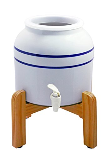 New Wave Enviro Products Blue Striped Porcelain Dispenser with Wood Counter Stand.