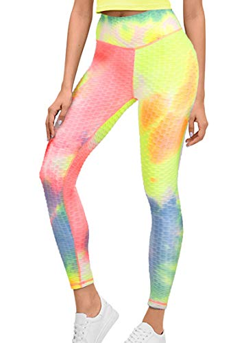 GRAT.UNIC Sport Leggings Damen,Yoga Sporthose,Fitnesshose mit Taschen,Yogahosen,Damen Leggings,Schwarz Stretch Workout Fitness Jogginghose (Regenbogen, M)