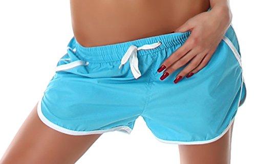 Veryzen Damen Shorts kurz mit farbig abgesetzen Rändern, türkis Größe 32 34 36
