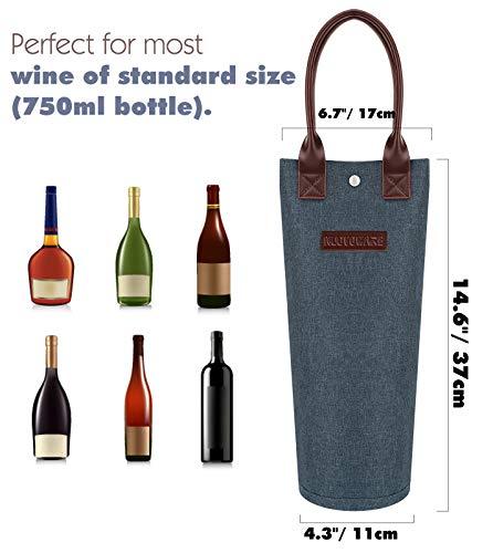 Nuovowareワインバッグ1本用ポータブル750MLネオプレン防水ボトルバッグワイン保存袋キャリア保冷バッグ二重素材断熱安全防水絶縁涼しさ乾燥ワイントートパーティーピクニック花見用プレゼント用Denimblue