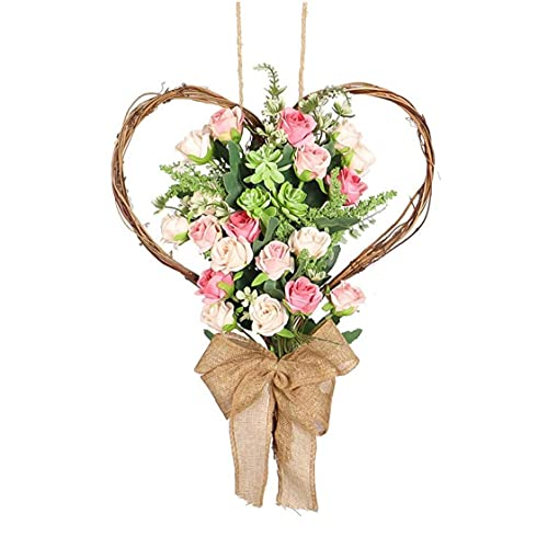 YepYes Forma Corona De Flores Artificiales De Rose Guirnalda De La Flor del Corazón De Simulación Rose Garland Puerta Colgando Decoración para El Hogar