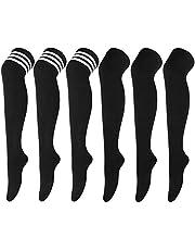 DRESHOW 6 Par Knästrumpor Långa Strumpor Ränder Lårhöga Strumpor Sport Strumpor Leggings Strumpor för Kvinnor och Flickor