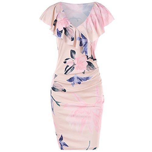 Damen Sommerkleid Frauen Lose gedruckt Floral Volant Halsband Etuikleid
