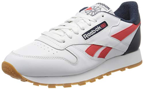 Reebok Herren Cl Leather Mu Gymnastics Shoe, White/Collegiate Navy/Radiant Red, 44 EU