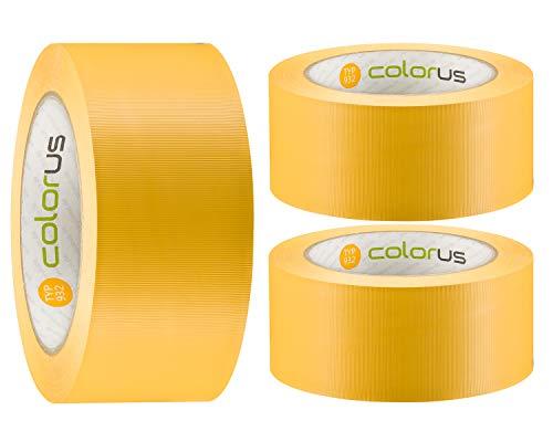3 x Colorus PVC-Schutzband PLUS | Putzband 50 mm x 33 m gelb gerillt | Klebeband für Innen und Außen | 14 Tage UV-Beständigkeit | Putzerband Abdeckband leicht abreißbar | Abklebeband