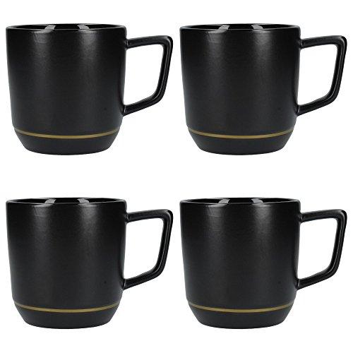 La Cafetière Edited Kaffeetassen aus Keramik, modernes Design, mit goldfarbener Dekoration, 320 ml, matt schwarz/gold (4 Stück)