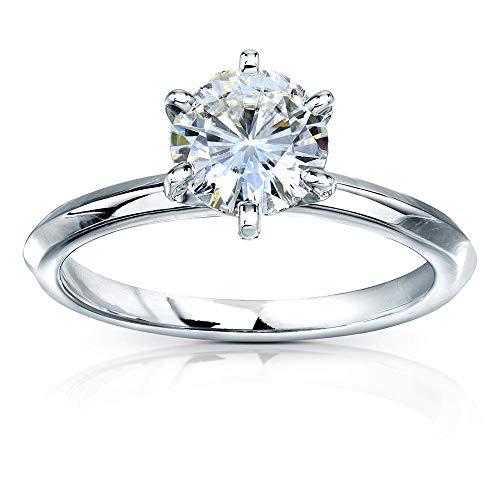 Kobelli Classic Solitaire Round Brilliant Moissanite Engagement Ring 1 Carat 14k White Gold (GH, VS), 5.5