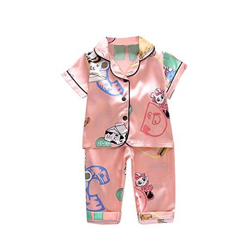 Julhold Conjunto de ropa de dormir para bebés recién nacidos y niñas con dibujos animados de animales, camiseta+pantalones de pijama, ropa de dormir y conjunto