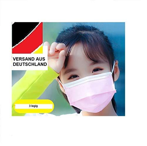 12 x Mundschutz Masken Einweg Mund Nase Gesicht 3 lagig Hygiene Behelfsmaske Schule Einmal Einweg (14,2 x 9,4 cm, rosa, 12)
