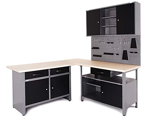 Ondis24 Werkstatt Ecklösung Basic One, 180 cm breit, 2x Werkbank, 1x Werkzeugschrank, Metall, abschließbar, 3x Werkzeugwand - Lochwand, 1x Haken Set (Arbeitshöhe 85 cm, schwarz)