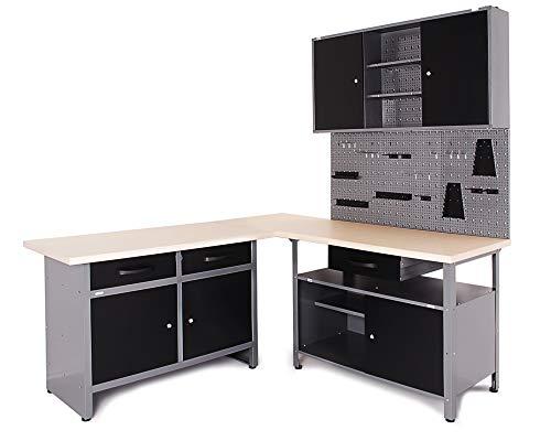 Ondis24 Werkstatt Ecklösung Basic One, 160 cm breit, 2x Werkbank, 1x Werkzeugschrank, Metall, abschließbar, 3x Werkzeugwand - Lochwand, 1x Haken Set (Arbeitshöhe 85 cm, schwarz)