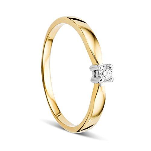 Orovi, anello di fidanzamento da donna, solitario in oro bicolore 14carati (585) con diamante 0,05ct, anello in oro bianco e giallo con diamanti e Due ori, 20, colore: gold, cod. OR72302R60