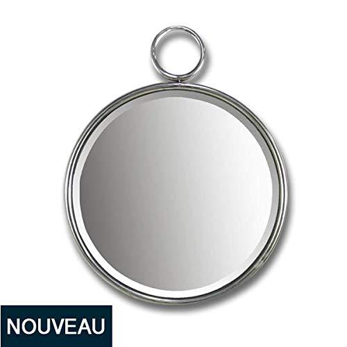Emde spiegel, rond, metaal, zilverkleurig, ring 40 x 50 cm