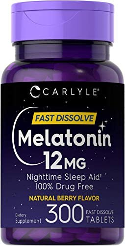 Carlyle Melatonin 12 mg Fast Dissolve 300 Tablets Nighttime Sleep Aid Natural Berry Flavor Vegetarian product image
