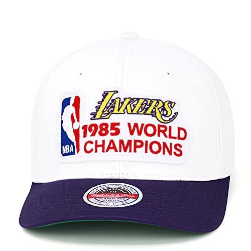 Mitchell & Ness Los Angeles Lakers - Cappello con visiera ricurva, colore: Bianco/Viola/1985 NBA World Champions