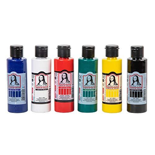 MONALISA Pintura Acrílica, Juego de 12 Colores (Chalky Neon), Resistente al Agua, para Niños, Adultos, Pintores Aficionados y Estudiantes
