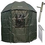 NECO Ombrello da pesca Isotermico 250 cm, con mantello, supporto per ombrellone e picchetti da terra, protezione pioggia, vento freddo e raggi UV, 3 uomini e bagagli alla carpa, custodia inclusa 15035
