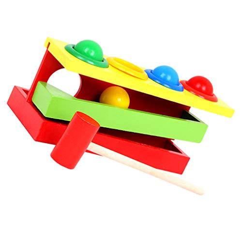 STOBOK 1 Conjunto Libra por Bola Brinquedos para Crianças Martelo Bola de Madeira para Crianças Brinquedos Montessori Brinquedos para Crianças Em Desenvolvimento