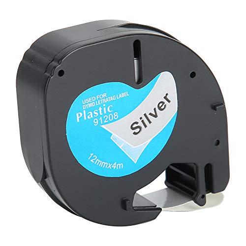 Cinta de etiquetas para recargas de etiquetas Dymo LetraTag Cinta de papel autoadhesiva Accesorios de etiquetado de papel térmico de 12 mm, negro sobre fondo plateado