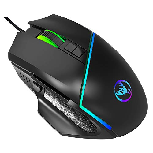 High Performance Gaming Mouse, Enfourclass Ergonomic Wired Gaming Mouse with 4-Level DPI Adjustable & 7 Light Modes, RGB Gamer Desktop Laptop PC Gaming Mouse for Windows 7/8/10 Mac