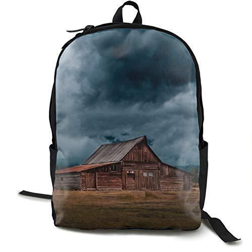 Lightweight Backpack Rucksack Foldable Ultralight Packable Backpack,Log Cabin Barn Field Rural Unisex Durable Handy Daypack for Travel & Outdoor Sports