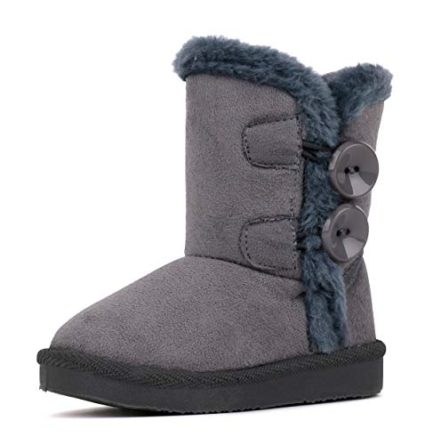 LONSOEN Boys Girls Warm Snow Boots Button Faux Fur Lined Ankle Calf Winter Boots(Toddler/Little Kids) KDB015 Gray CN25