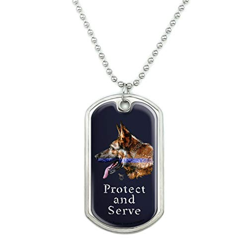 GRAPHICS & MORE Protect and Serve K9 Police Thin Blue Line German Shepherd Dog Military Dog Tag Pendant with Chain