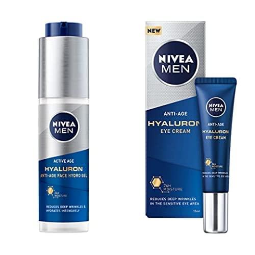 NIVEA MEN Hyaluron Gel Facial Hidratante Antiedad + NIVEA MEN Contorno de Ojos Antiedad