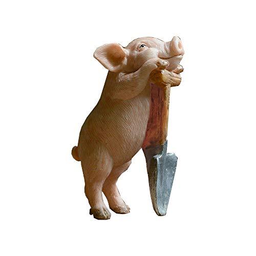 Gemmia Miniature Fairy Garden Pig Figurine- Tired but Happy Pig