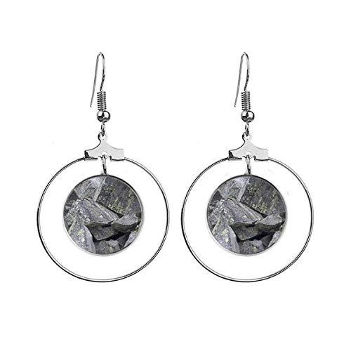 Donkere stenen stukjes behang kraken mos oorbellen Dangle Hoop sieraden Drop cirkel